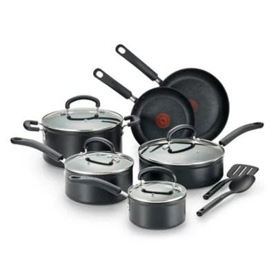 kitchen pan set cheap ideas cookware sets pots pans stainless steel bed bath t fal titanium advanced nonstick aluminum 12 piece in black