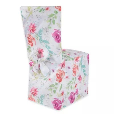 party chair covers canada christmas dining room slipcovers seat bed bath beyond spring splendor floral cover