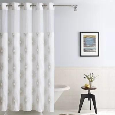 hookless starburst fabric shower curtain in metallic gold