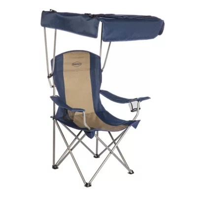 beach chairs with shade folding chair cooler canopy bed bath beyond kamp rite reg in blue tan