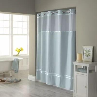 blue hookless shower curtain bed bath