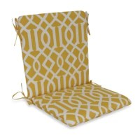 Mid-Back Cushion with Ties in Yellow Trellis | Bed Bath ...