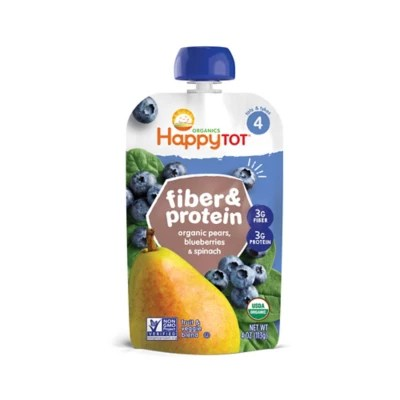 Happy Baby Happy Tot Organic Fiber Protein 4 oz Pear