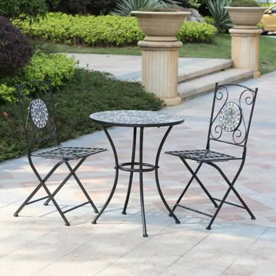 bistro tables and chairs gold chair covers uk patio sets bed bath beyond winsome house 3 piece mosaic outdoor set in grey
