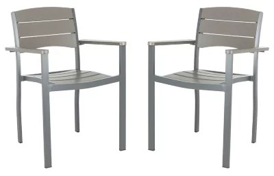 stackable outdoor chairs hitchcock desk and chair bed bath beyond safavieh gerhardt patio in grey set of 2
