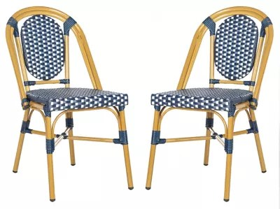 stackable outdoor chairs nailhead accent chair bed bath beyond safavieh lenda patio bistro in navy white