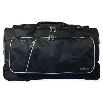 travolution 23 inch wheeled garment rack duffle bag in black bed bath beyond