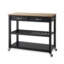 Rolling Kitchen Carts Discount Cabinets Nj Portable Islands Bed Bath Beyond Crosley Natural Wood Top Cart Island With Removable Shelf