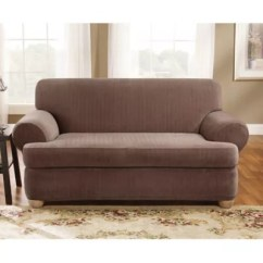 Sure Fit 2 Piece T Cushion Sofa Slipcover Sleepers For Small Areas Stretch Pinstripe Loveseat