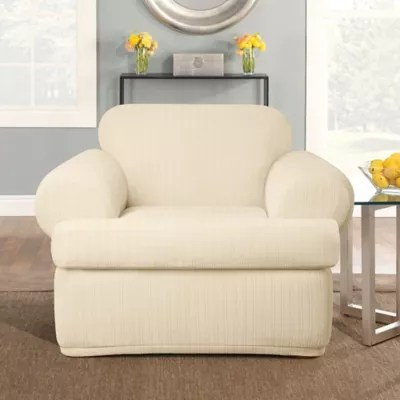 living room chair slipcovers how do you decorate a rectangular recliner dining covers bed bath sure fit stretch pinstripe 2 piece t cushion slipcover