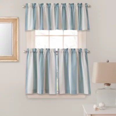 swag curtains for kitchen backsplashes images bath bed beyond lauren stripe window curtain tier pairs and valances in blue