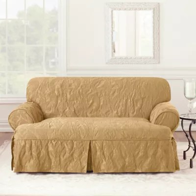 sure fit matelasse damask 1 piece sofa slipcover in white