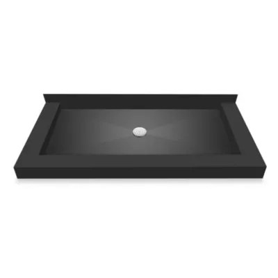tile redi redi base left double curb shower pan with center drain