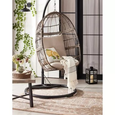 bee willow home hanging patio egg chair in oyster