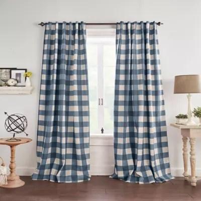 blue plaid curtains bed bath beyond