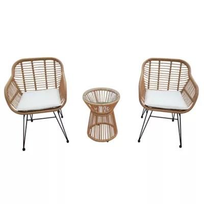 destination summer 3 piece wicker rope bistro patio furniture set in tan