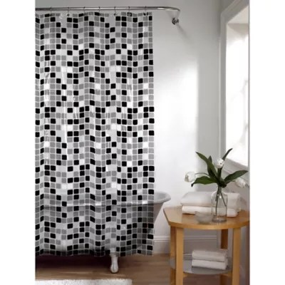 tiles shower curtain in black white bed bath beyond