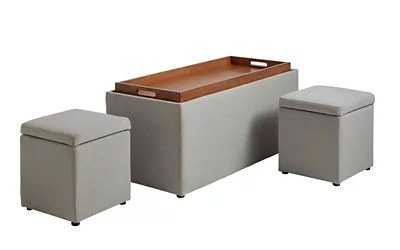 storage bench with tray and 2 ottomans