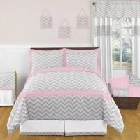 Sweet Jojo Designs Zig Zag Bedding Collection in Pink/Grey