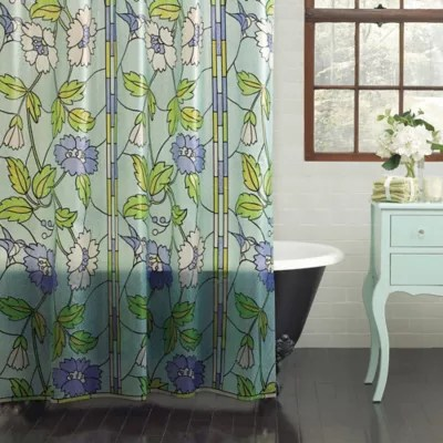 stained glass peva shower curtain bed
