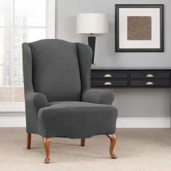 Sure Fit Chair Covers Bed Bath And Beyond Hanging Restaurant Modern Chevron Wingback Slipcover