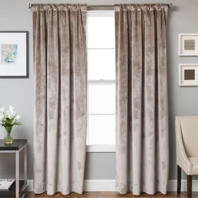 velvet rod pocket back tab lined window curtain panel bed bath beyond