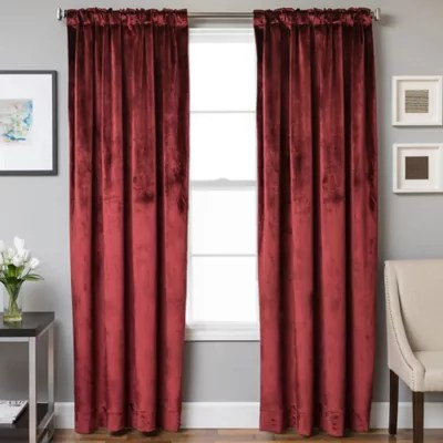 velvet rod pocket back tab 63 inch lined window curtain panel in crimson