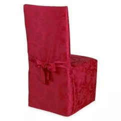 Chair Covers For Dining Room Velvet Armchair Nz Slipcovers Seat Bed Bath Beyond Christmas Ribbons