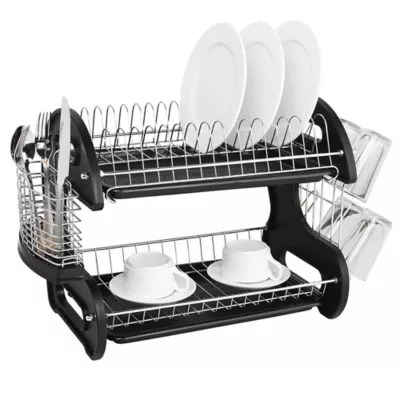 kitchen drying rack cabinets hinges dish racks drainers stainless steel bed bath beyond home basics 2 tier drainer