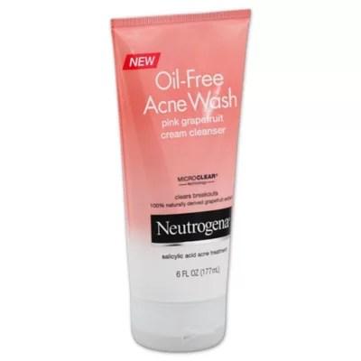 Neutrogena® 6 oz. Oil-Free Acne Wash Cream Cleanser in Pink Grapefruit | Bed Bath & Beyond