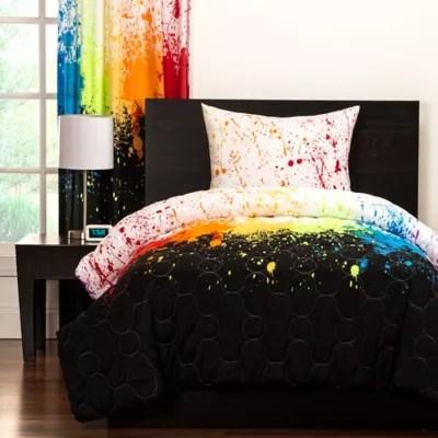 crayola cosmic burst reversible comforter set in black bed bath beyond
