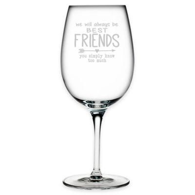 "Susquehanna Glass Etched ""Best Friends"" Wine Glass Bed"