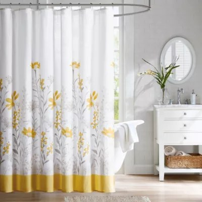 Harbor House Meadow Cotton Shower Curtain in Yellow  Bed