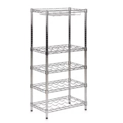 Can You Put A Wine Rack In Living Room Ideas With Indigo Blue Sofa Furniture Product Type Bed Bath Beyond Honey Do Steel 5 Tier And Stemware Chrome
