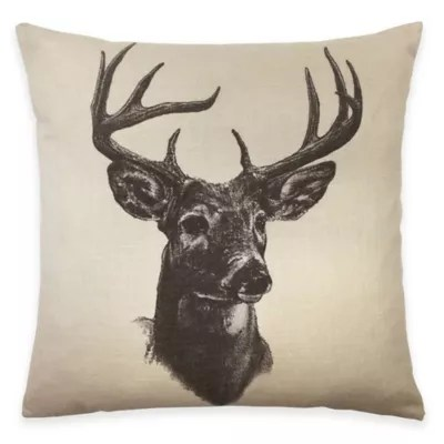 hiend accents whitetail deer linen print square throw pillow in natural bed bath beyond