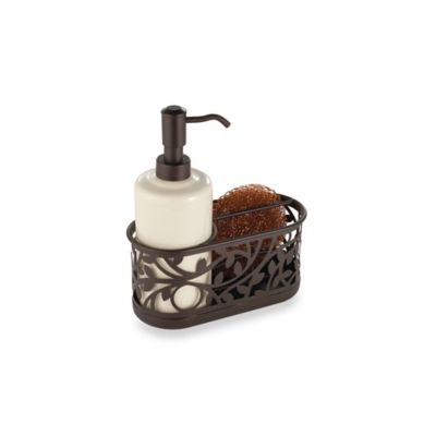 kitchen soap caddy lowes remodeling interdesign vine sink dispenser pump and sponge in bronze bed bath beyond canada