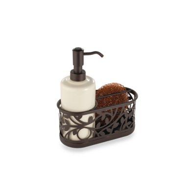 kitchen soap caddy espresso pantry interdesign vine sink dispenser pump and sponge in bronze bed bath beyond canada