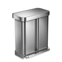 Trash Cans Kitchen Farmhouse Sinks Recycling For Plastic Stainless Steel More Simplehuman Dual Compartment Rectangular 58 Liter Step Can