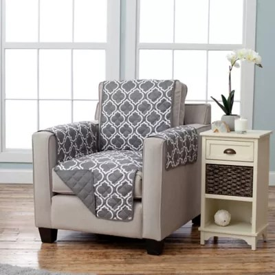 gray chair slipcover canvas folding chairs recliner slipcovers dining room covers bed bath adalyn collection reversible size furniture protectors