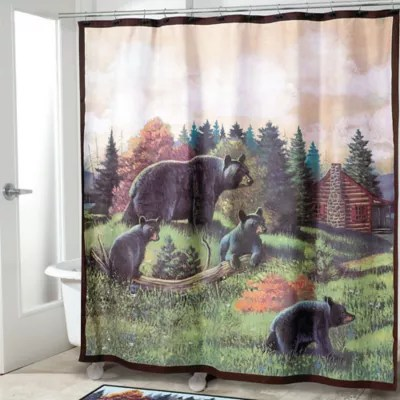 Avanti Black Bear Lodge Shower Curtain  Bed Bath and