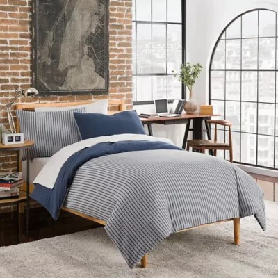 League Reversible Duvet Cover Set In NavyGrey Bed Bath And Beyond Canada