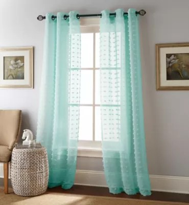 mint green sheer curtain panels bed
