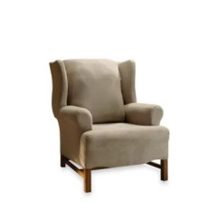 Sure Fit Chair Covers Bed Bath And Beyond Hanging Anthropologie Stretch Suede Taupe Wingback Cover By