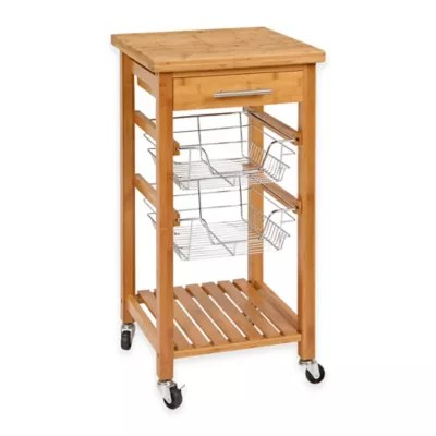 rolling cart for kitchen design your islands carts bed bath and beyond canada bamboo with storage