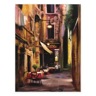 Evening Café All Weather Outdoor Canvas Wall Art Bed