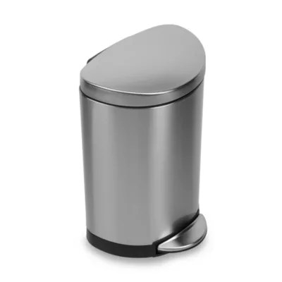 simplehuman kitchen trash can pre built outdoor islands brushed stainless steel fingerprint proof semi round 10 liter step on bed bath and beyond canada