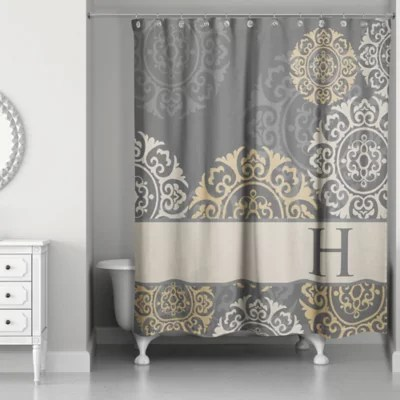 medallions shower curtain in grey taupe gold bed bath beyond