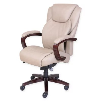 lazboy office chair modern mid century la z boy linden bonded leather executive in taupe