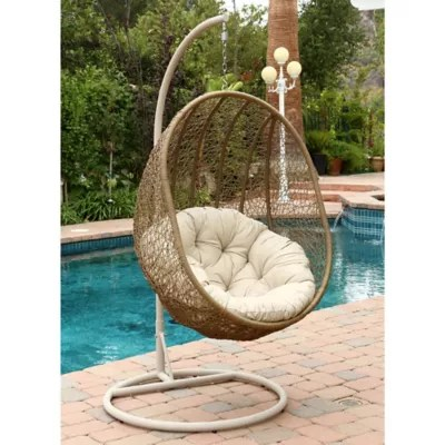 egg chair swing slipcovers for wingback hanging bed bath beyond abbyson living reg hampton outdoor wicker in light brown