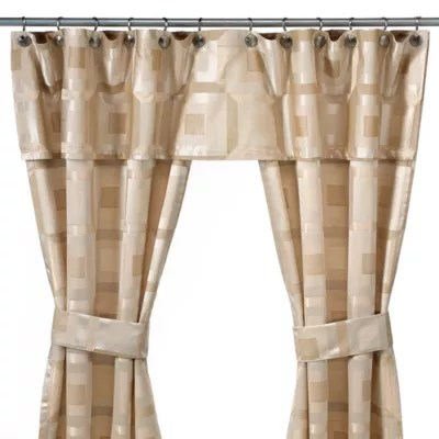 metro ivory double swag shower curtain